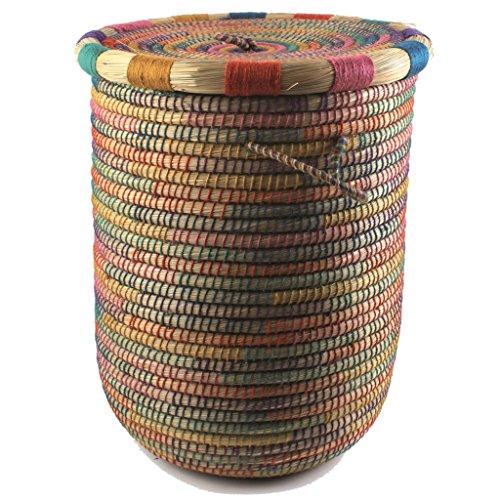 Galleria fotografica Baskets Fairtrade, Orient, portabiancheria con coperchio, realizzato a mano, prodotto del commercio equo e solidale, diametro di 40 cm
