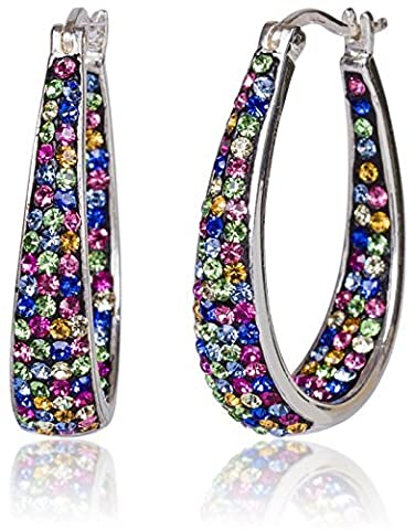 Carly Creations Women's Silver Plated Genuine Crystal Hoop Earring - Multicolored by Carly