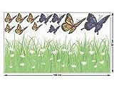 GRAZDesign 911048_100x57 Fenstersticker Blumen - Wiese mit Schmetterlinge | Fensterbilder als Bunte Tattoos für Glas (100x57cm)