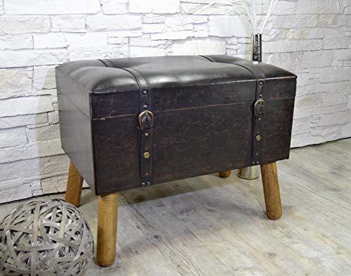 Livitat® Hocker Polsterhocker Suitcase Pouf Truhe Staufach Truhenbank Sitzbank Ottomane Dunkelbraun B60 x T40 x H47 cm LV2082
