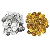 Baoblaze 200stk. Spielmünzen Piraten Münzen Geschenk Münze für Kinder Zum Piraten Spiel, aus Plastik