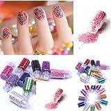 (12 colore diverso) piccolo cerchio tallone decorazione 3d nail art perle di caviale di arte del chiodo bottiglia set Boolavard® TM