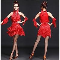 peiwen Baile Latino de la Mujer Vestido de la Borla del  Funcionamiento Traje Sequined 32957feee109