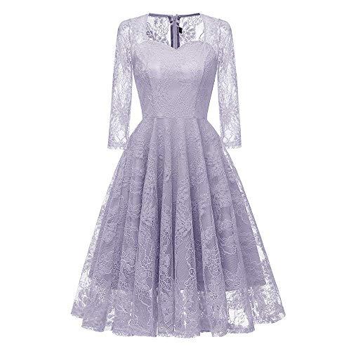 Qiusa Womens Vintage Prinzessin Spitze Party Schaukel Hochzeitskleid -