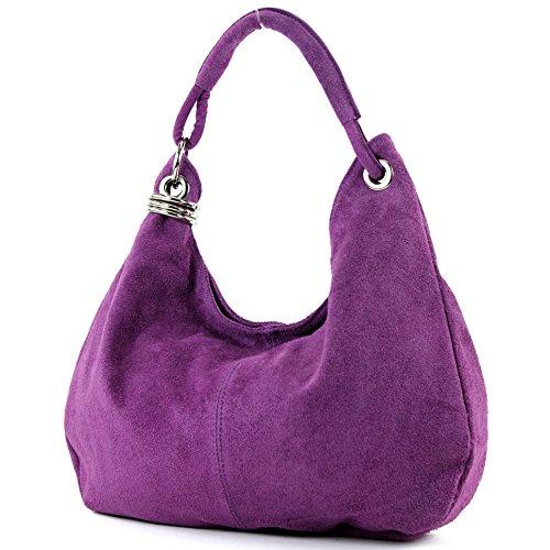 modamoda de - Made in Italy Sac à main italien sac à bandoulière cabas femme en cuir véritable sac T02, Präzise Farbe (nur Farbe):Lila