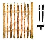 Floranica® - Imprägniertes Gartentor für Staketenzaun, 3 Größen, Bauernzaun als Zauntor, Einzeltor, Flügeltor, Tor mit Scharniere inkl. Zubehör, Holzart: Haselnussholz, Breite: 100cm, Höhe:120 cm