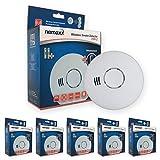 Nemaxx  5x   HW-2 Funkrauchmelder - hochwertiger Rauchmelder mit kombiniertem Rauch- und Thermosensor - Hitzemelder nach DIN EN 14604