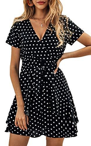 Spec4Y Damen Kleider V Ausschnitt Punkte Sommerkleid Rüschen Kurzarm Minikleid Strandkleid mit Gürtel Schwarz L (Prime Club-kleid Versand)