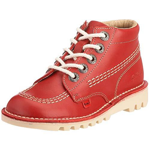 Kickers Unisex Kids Kick Hi Core Boots, Red Red/LT Cream, 2 UK 34 EU