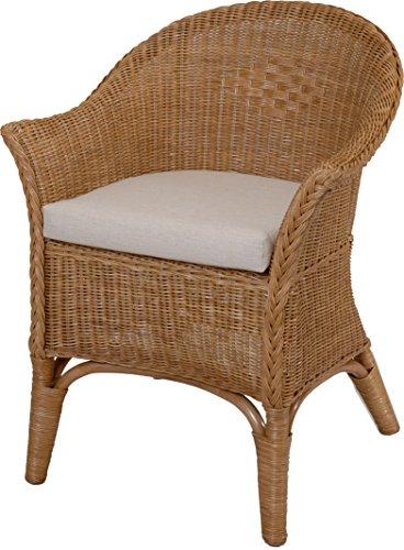 korb.outlet Rattan-Sessel Natur in der Farbe Cognac inkl. Polster Beige - Rattanstuhl Lounge