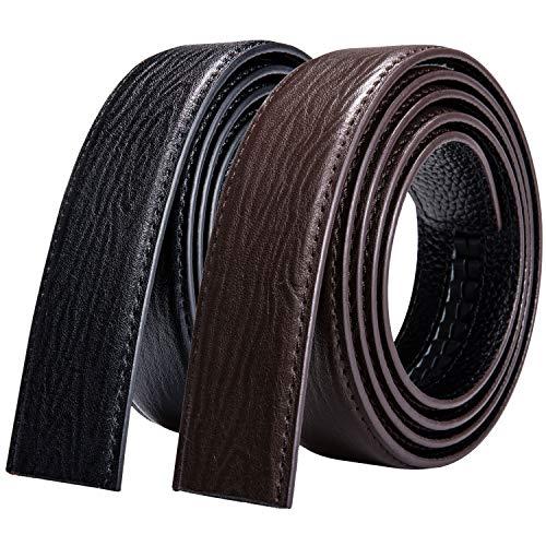 DiBanGu - Cinturón automático para hombre (2 unidades, piel auténtica, sin hebilla, formal/vestido, intercambiable) Negro Red-black 130 cm/44' Cintura