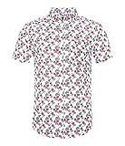 Nutexrol Herren Kurzarm Hemd mit Ananas Obst Aufdruck für Party Urlaub A-Weiß X-Large