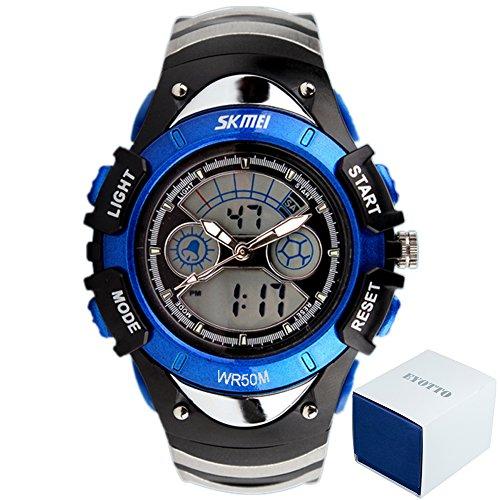 eYotto digitale Quarz-Sportuhr für Jungs, wasserdicht mit Hintergrundbeleuchtung, blau