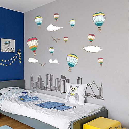 r Blick Auf Die Stadt Heißluftballon Schlafzimmer Wohnkultur Aufkleber Wandbild Kunst Hintergrund ()