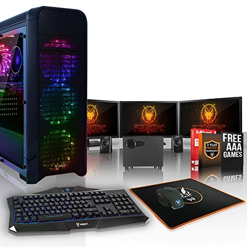 Fierce Hawk High-End RGB Gaming PC Bundeln - 3.8GHz 8-Core AMD Ryzen 7 1700X, 240GB SSD, 1TB HDD, 8GB, NVIDIA GeForce RTX 2080 8GB, Tastatur (QWERTY), Maus, 3X 21.5-Zoll-Monitor, Lautsprecher 895590