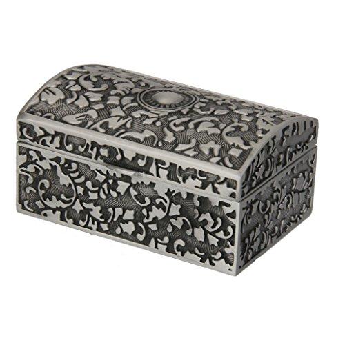 Boîte à Bijoux Organiseur Vintage Sculpté en Alliage