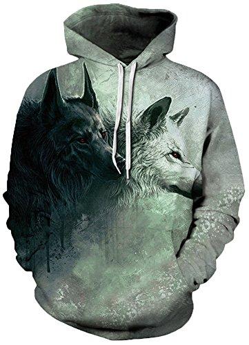 EmilyLe Herren Bunte Pullover mit Taschen Hoodie Long Sleeve Kapuzenpullover 3D Druck Cartoon Muster Sweatshirt schwarz weiß Wolf