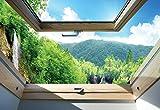 Wasserfall Wald 3D-Dachfenster-Ansicht Fotota...Vergleich