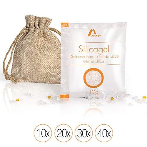 Amazy Silica Gel Beutel (40 x 10 g) inkl. Jutebeutel und Indikatorkugeln - Vakuumverpacktes Kieselgel als Trockenmittel (regenerierbar) für das Binden von Feuchtigkeit - schützt vorFeuchte und Muff -