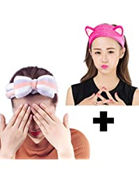Grab Offers Soft Cute Knot Bow and Cat Ears Headband Hair Accessory Combo for Kids, Girls and Women (Multicolour) -Pack of 2