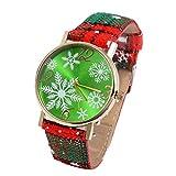 Moonuy Frauen Weihnachtsuhren Damen Charm Uhren Anhänger Uhr Casual Schneeflocke Drucken Gürtel Quarzuhr
