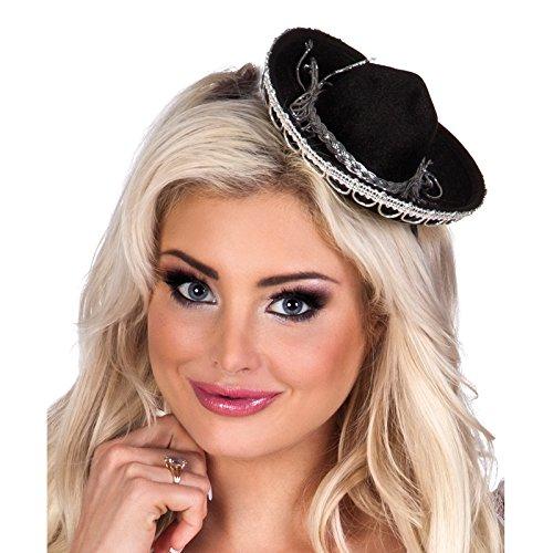 ini-Hut Sombrero, mit Haarreif, Schwarz (Mini Sombrero Party Hüte)