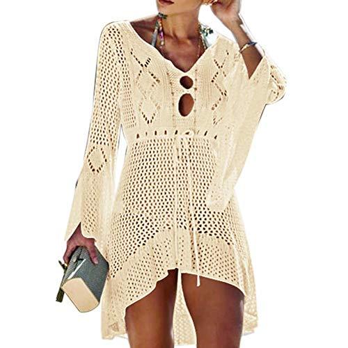 Wuree Frauen Beachwear Bikini vertuschen Badebekleidung Badeanzug aushöhlen V-Ausschnitt Stricken Strand Baden vertuschen Kleid für Damen (Beige) -