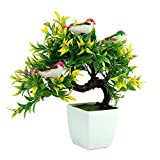 #5: Discount4product Artificial Plant With Pot Garden Outdoor Home Décor Tree Potted Plant Bonsai Wild Plant 24 cm, Green