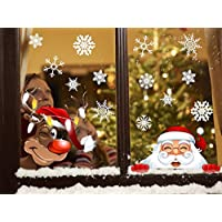 Tuopuda Christmas Santa Claus Sticker Snowflakes Elk Shop Decoration DIY Christmas Window Decorations Reusable Static Adhesive Sticker for Window Display (B)