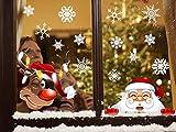 Tuopuda NoëL Autocollants Stickers Fenetre Electrostatique Père Noël Renne Flocons de Neige Stickers Noel Fenetre Amovibles Stickers Muraux