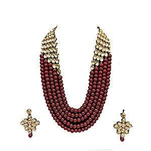 Saraa Dazzling Exclusive Exclusive Collection Green Color 5 Layer Faux Pearl & Kundan Necklace Rani Haar Jewellery Set with Earrings for Women