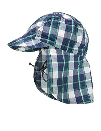 maximo-mutze-schild-nackenschutz-bindeband-bonnet-bebe-garcon-mehrfarbig-mehrfarbig-tinte-grun-karo-