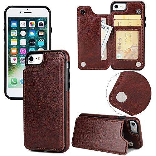 EKINHUI Case Cover Verrückte Pferd Textur Leder zurück Abdeckung Geldbörse Tasche Tasche mit Kickstand & Card Slots für iPhone 7 ( Color : Brown ) Brown