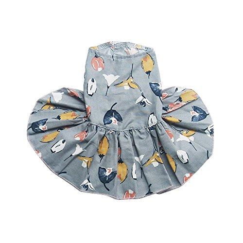 Trunlay Kleine Haustier Hund Kleidung Hund T-Shirt Haustier Hunde Bekleidung Rock Kleid Blumen Druck Vintage Mini Hündchen Welp Hundejacke Shirt Hundemantel Kleine Hunde Chihuahua Teddy Pudel