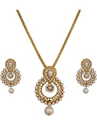 JSD Gold Plated Australian Diamond Stone Studded Necklace Set For Women With Chain