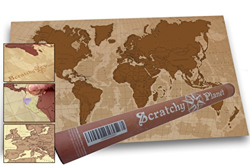 Scratchy Planet - Rubbel Weltkarte im Antik-Look, Rubbel Atlas, Weltkarte Zum Rubbeln, Internationale Scratch Landkarte XL, Antik