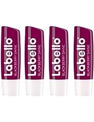 Labello Blackberry Shine im 4er Pack (4 x 4,8 g), Lippenpflegestift mit zartrotem Glanz und Schimmerpigmenten, Lippenpflege ohne Mineralöle