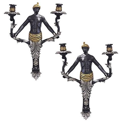 Wand Kerzenhalter Vintage Jugendstil 2er Farbe Schwarz Gold Silber Figur Mann
