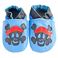 Soft leather baby shoes for Boys and Girls by Shoozies - Jolly Roger Pirate