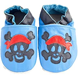 Y suave de cuero con función de diseño de zapatos de bebé y pantalla a juego para bola de Roger de esqueleto de Jack Sparrow muchachos de Talla:0-6 meses