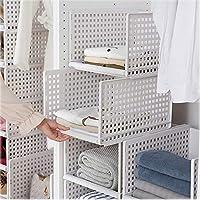HyFanStr Stackable Wardrobe Storage Organiser, Plastic White Wardrobe Shelves Detachable Closet Organiser -L(33x42.5x25cm) ¡