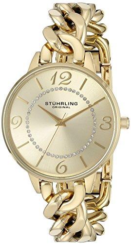 Stuhrling Original Vogue Damen Quarzuhr mit goldfarbenem Zifferblatt Analog-Anzeige und goldfarbenem Edelstahl-Armband 588.04