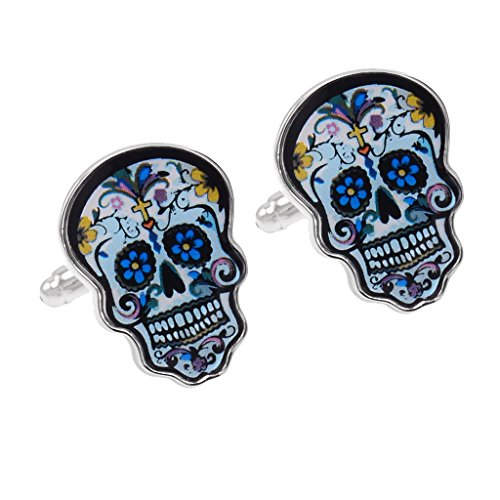 Gazechimp Punk Gemelos de Cráneo Esqueleto Mancuernas para Ropa de Hombre Decoración para Fiesta Boda Negocio