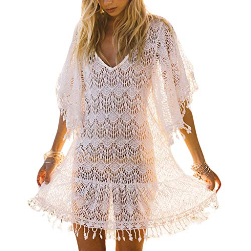 chenpaif Women Sexy Half Batwing Sleeves Swimsuit Cover Up V-Neck Crochet Floral Lace Beach Dress Hollow Out Tassels Trim Pullover Blouse White - Crochet Trim Blouse