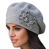 Kamea Juka Baskenmütze Damen Kopfbedeckung Winter Musterlos Blume EU, Grau,UNI