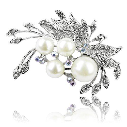 Kunstliche Pearl Crystal Blume Form Silber PIN Brosche für Hochzeit