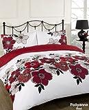Pollyanna Red Floral White Reversible King Size Duvet Quilt Cover Bedding Set