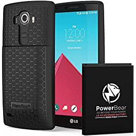 PowerBear LG G4 Extended Battery [6500 mAh] with Cover & Case [215% Battery]