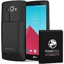 PowerBear Batería Extendida LG G4 [6.500mAh], Cubierta Trasera y Carcasa Protectora (Hasta 2.15X de Potencia de Batería Adicional) - Negra [24 Meses de Garantía y Protector de Pantalla Incluidos]