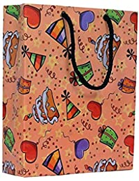A&A Bags Multicolour Laminated Birthday Design Paper Bag -Pack of 10 (8 x 6 x 2 Inch)